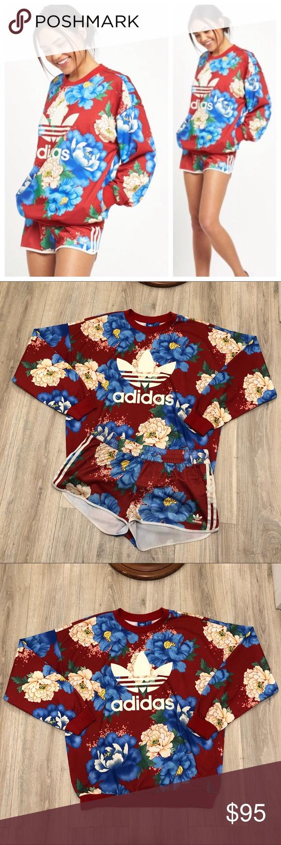 Sold Adidas Floral Clothes Design Short Sets [ 1740 x 580 Pixel ]