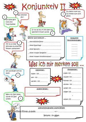 Konjunktiv II | Deutsch lernen | Pinterest | Arbeitsblätter, Lernen ...