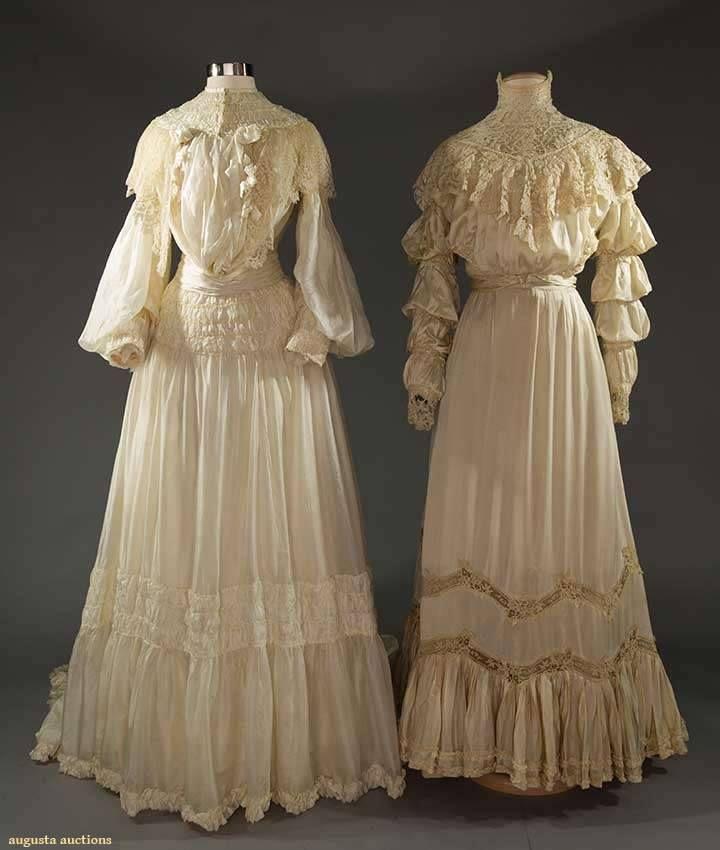 Two Edwardian Silk Wedding Or Garden Party Dresses, 1905