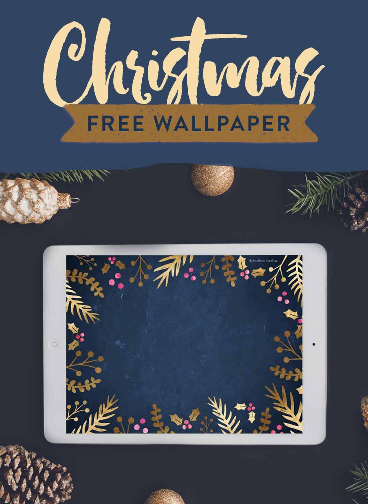 Free Festive Wallpaper Gold Foil Foliage Cute
