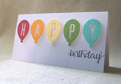 Handcrafted birthday card short and wide format balloons handcrafted birthday card short and wide format balloons stamped in bookmarktalkfo Images