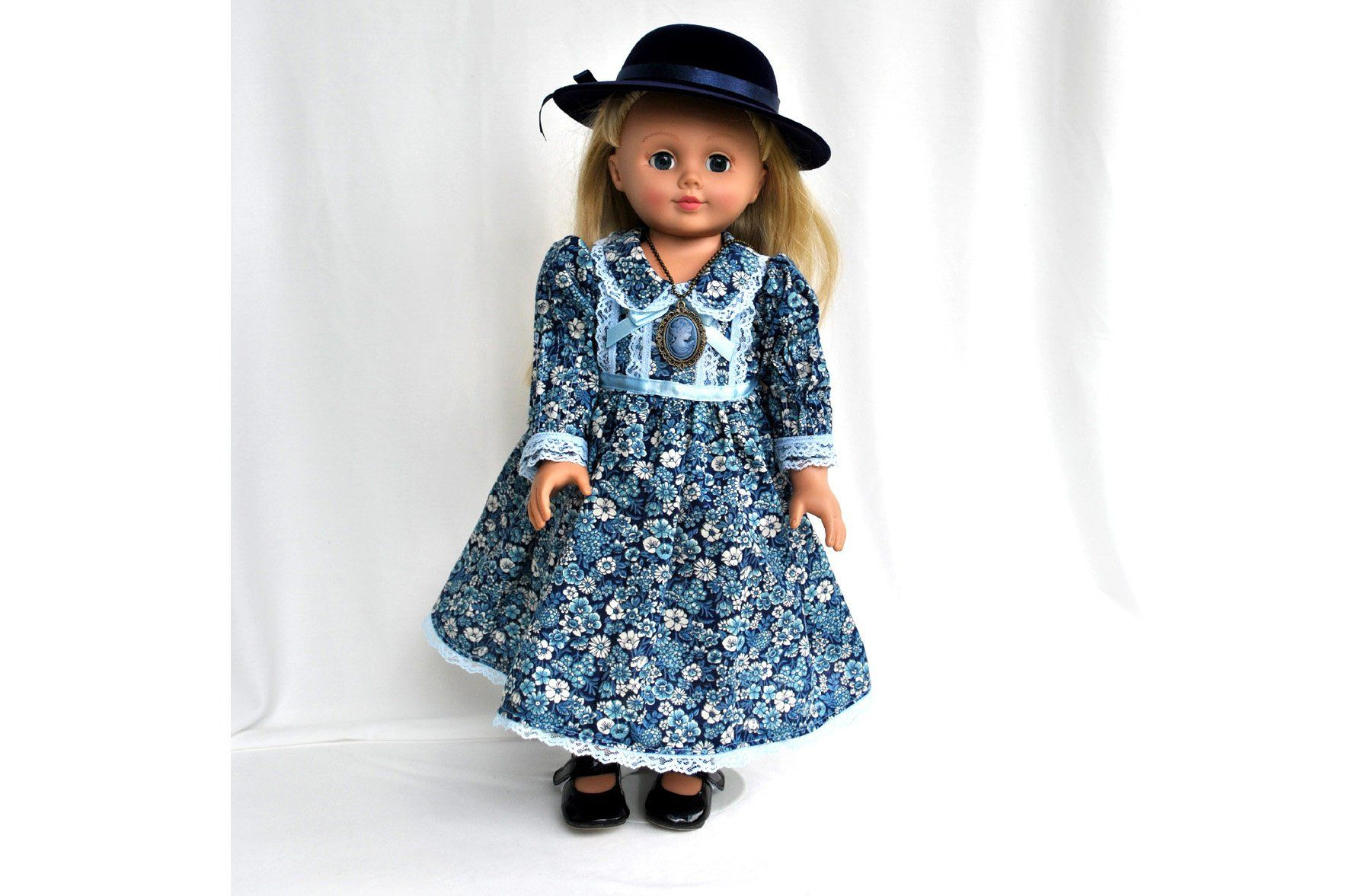 Historical Doll Clothes 18 inch doll 1900s Victorian Colonial Dresses with Hat, Black Shoes, Lady Hat Filicity