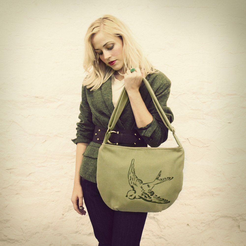 Sage Green Grass Tweed Reversible Bird Hip Bag READY TO SHIP. $55.00, via Etsy.