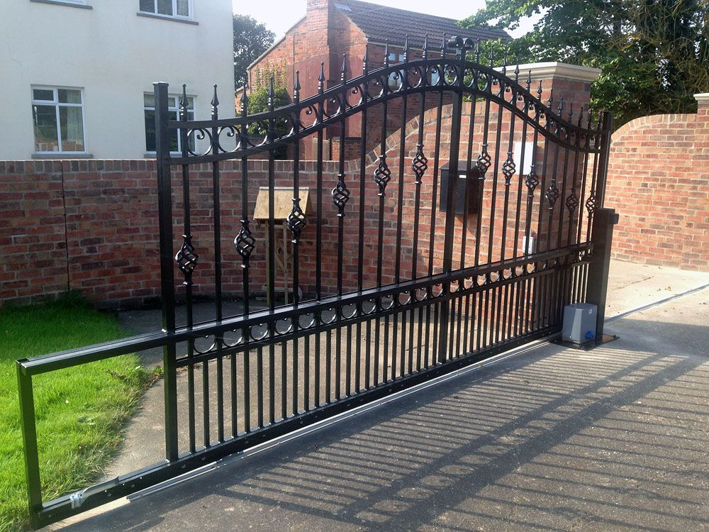 Wrought Iron Sliding Gate Manufactured And Automated Sliding Gate Iron Gates Gates And Railings