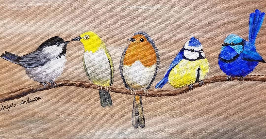 Pin By Angela Anderson On Diy Bird Painting Acrylic Birds Painting Painting Canvases