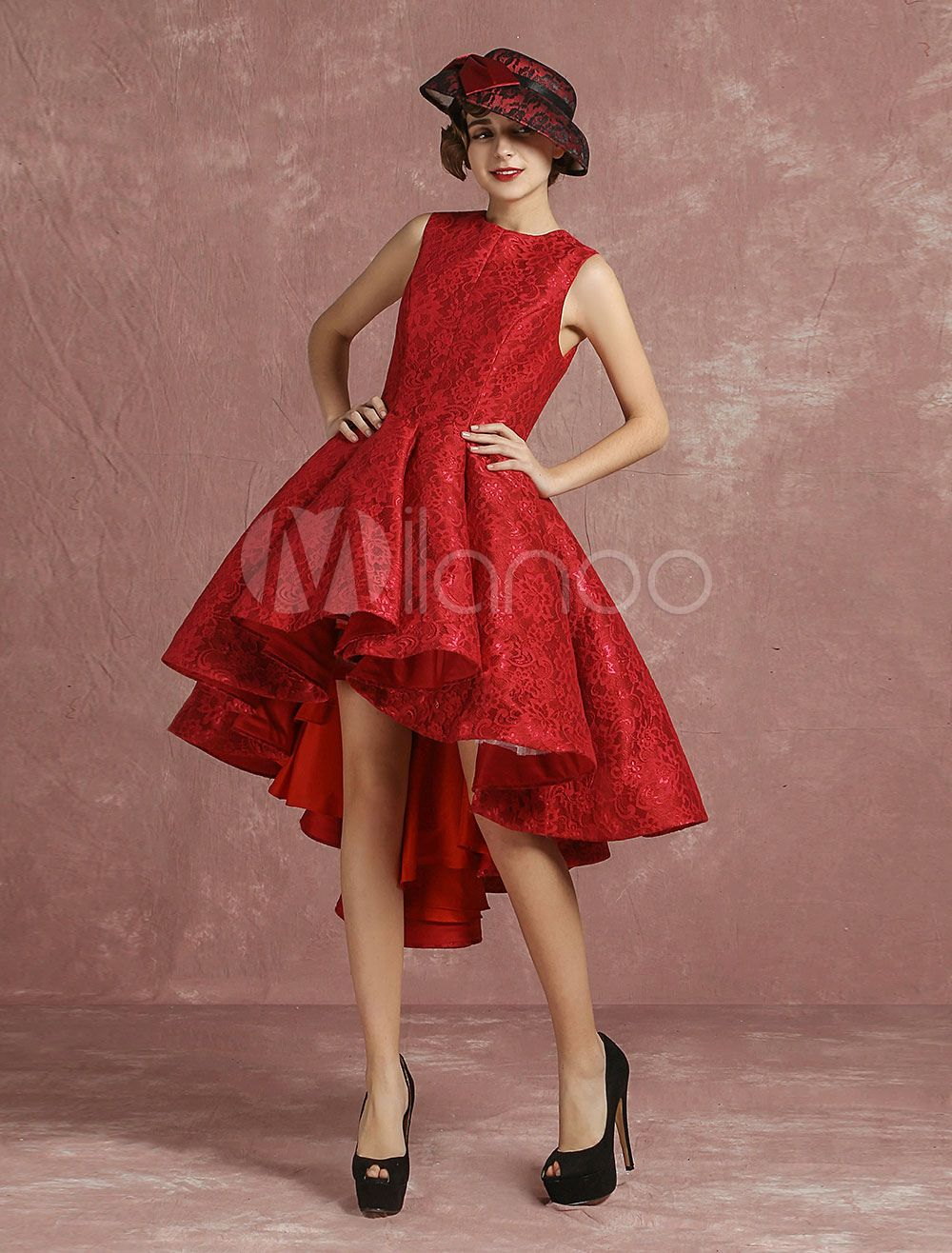 7567169a0ff Red Prom Dresses 2018 Short Lace Cocktail Dress Burgundy Pleated A Line  Round Neck Sleeveless High