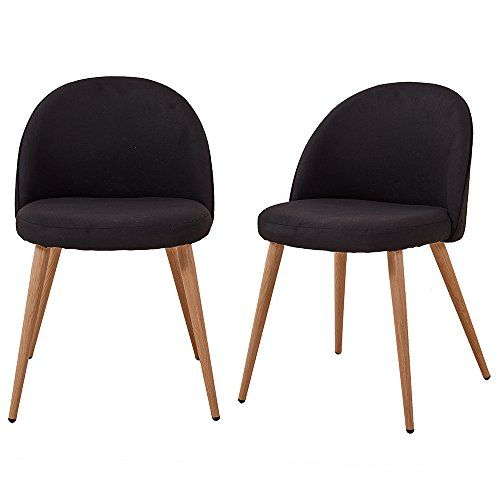 Fabric Accent Dining Chair Set of 2 Retro Wood Style Stur ...