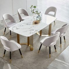 Faux Marble Dining Table 63 In 2021 Dining Table Marble Dining Table Gold Faux Marble Dining Table