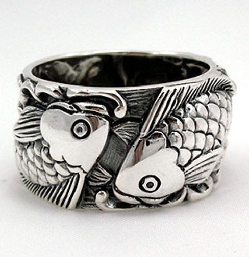 Details about JAPANESE KOI FISH TATTOOS 925 STERLING SILVER RING NEW CARP WEDDING ENGAGEMENT