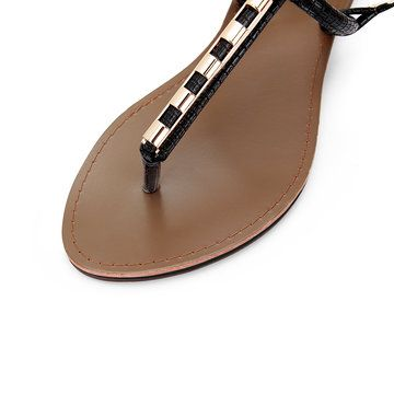 Black Metallic T-Strap Flat Sandals - US$27.95 -YOINS