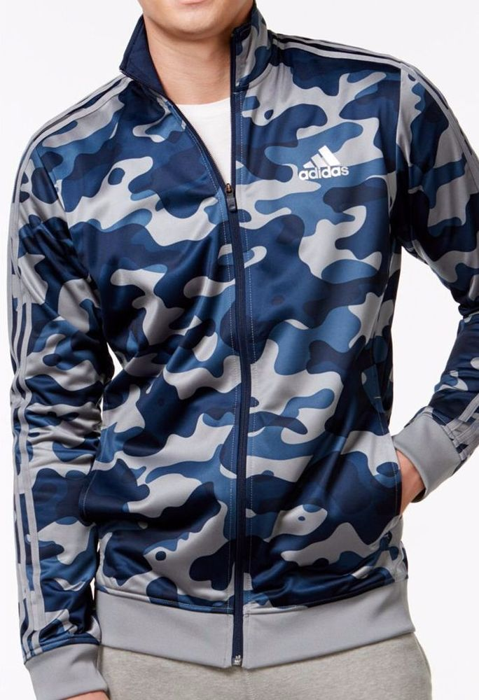 Adidas men's track jacket blue gray camouflage print size xxl NEW on SALE  #Adidas #