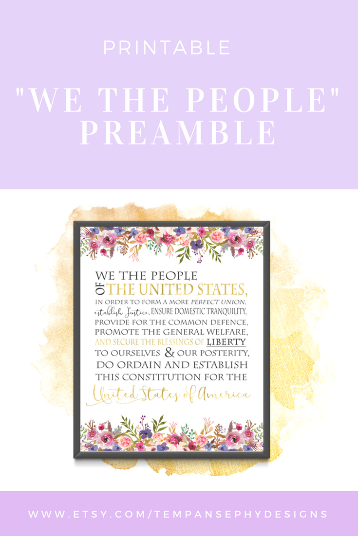 image about Preamble Printable called We The Those people Wall Artwork Consution Preamble Floral