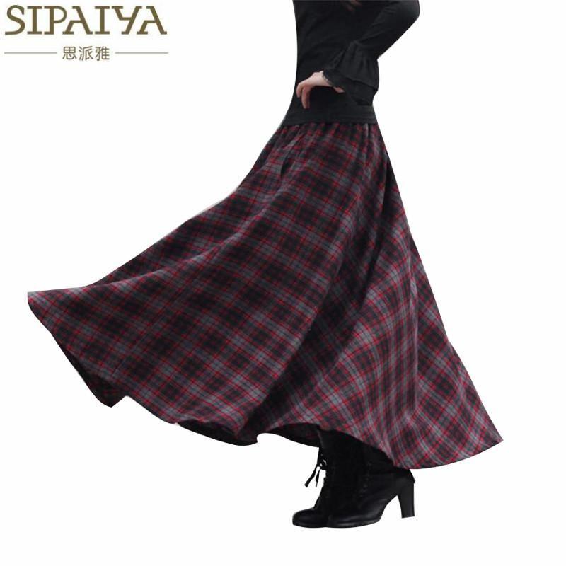 Femirah Womens Autumn Winter Wool Elastic Waist Plaid Maxi A Line Skirt