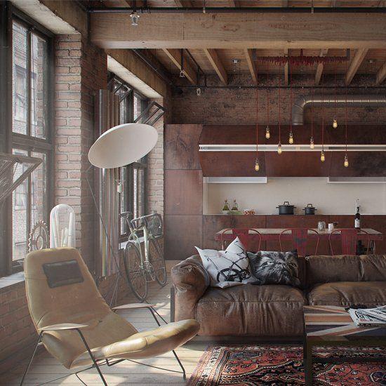 Rustic Industral Bathchlor Interior Design