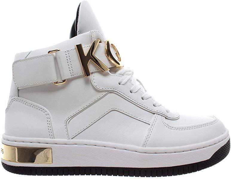 5061c162ec5e7 Michael Kors Cortlandt Leder 43R9HOFE5L Weiß Gold Damen Schuhe Neu ...