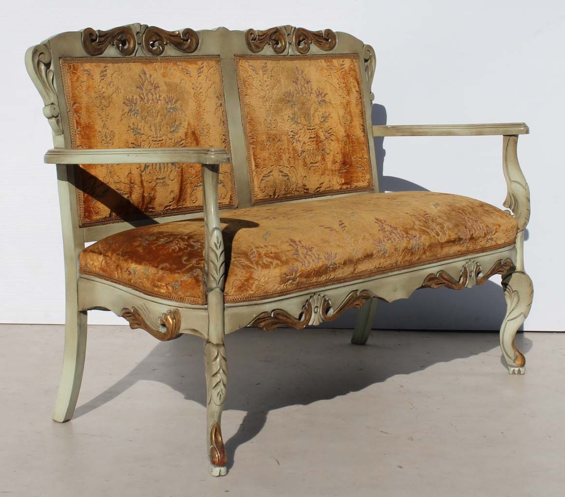 Heavily Carved French Ornate Two Seater Couch Condition Used
