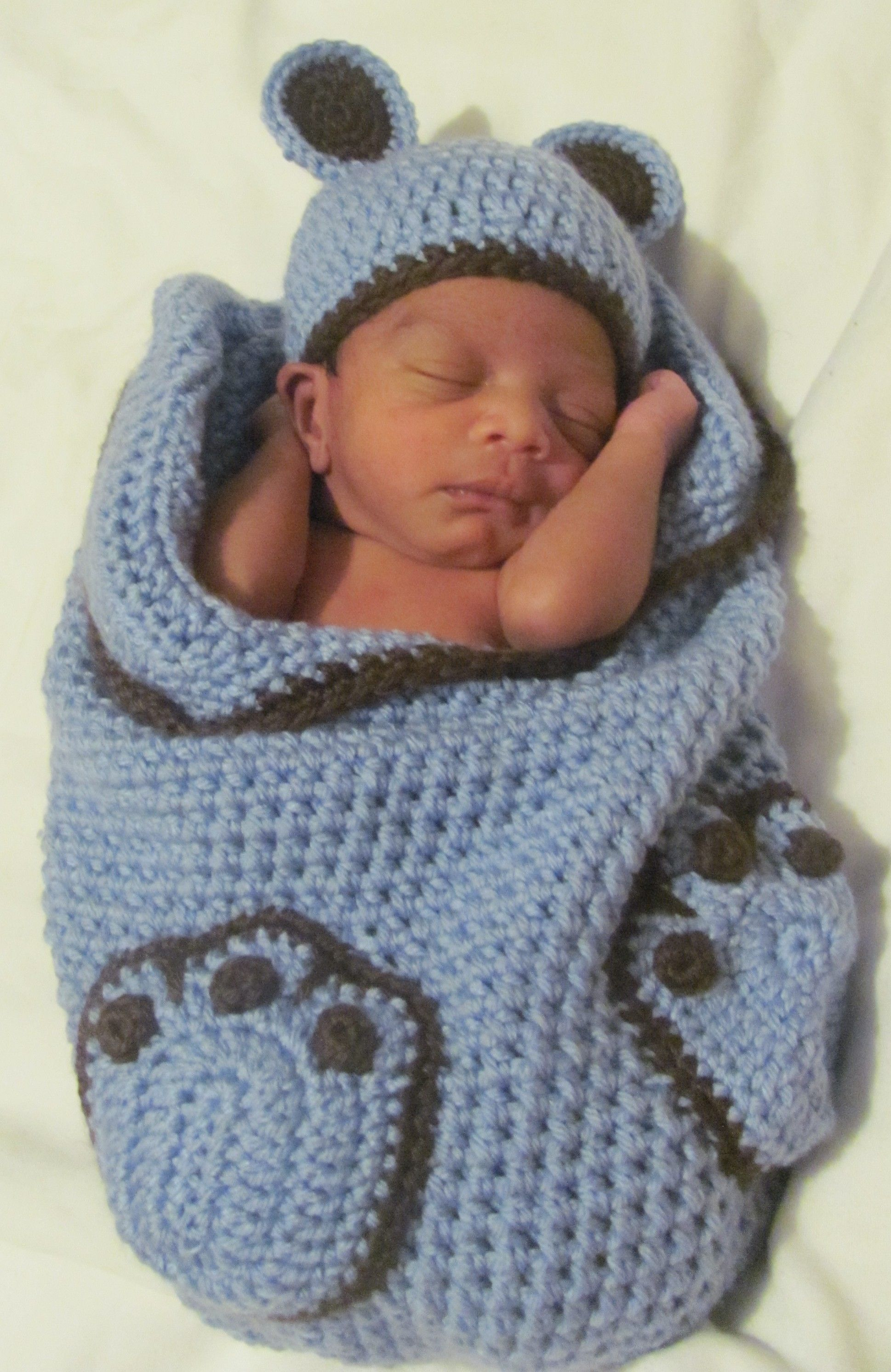Crocheted Teddy Bear Cocoon Crochet Baby Cocoon ...