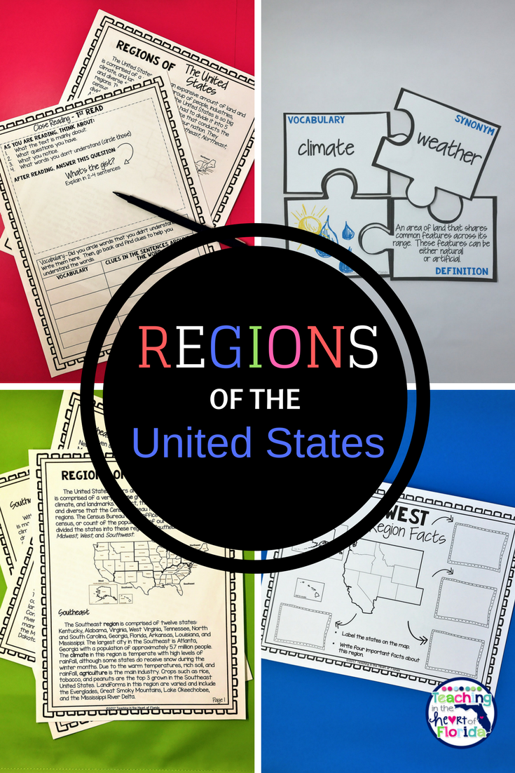 Regions Of The United States Close Reading Passages Vocabulary