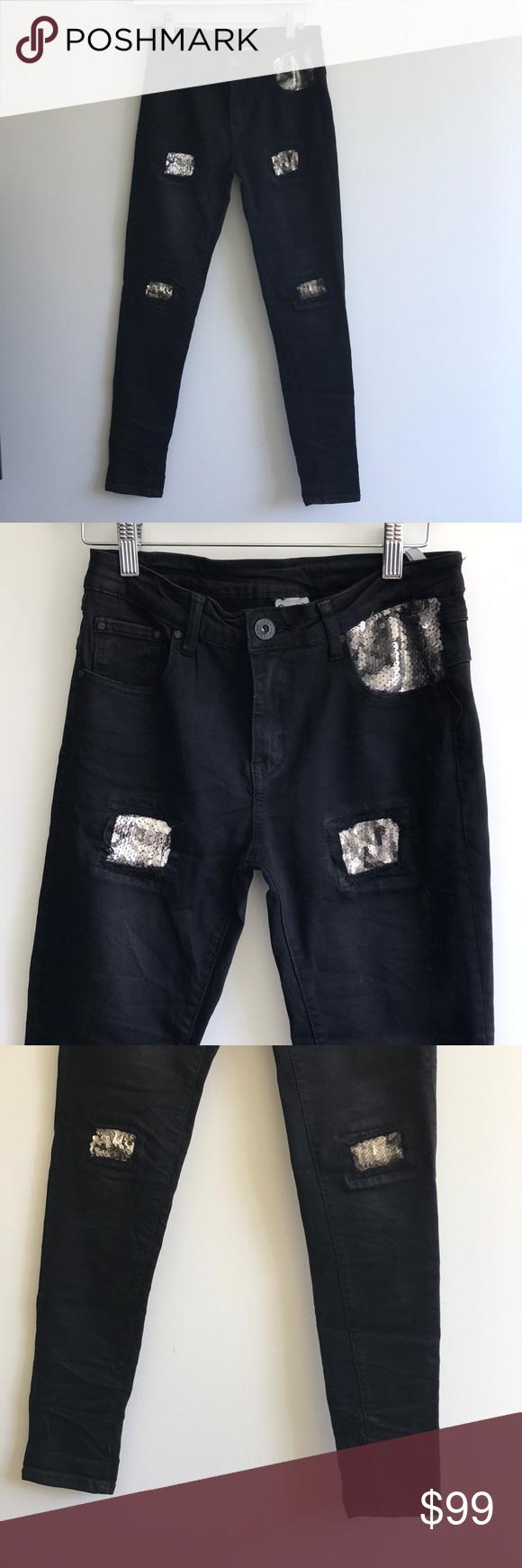 Hand work denim womenus jeans sequin rios patches in my posh