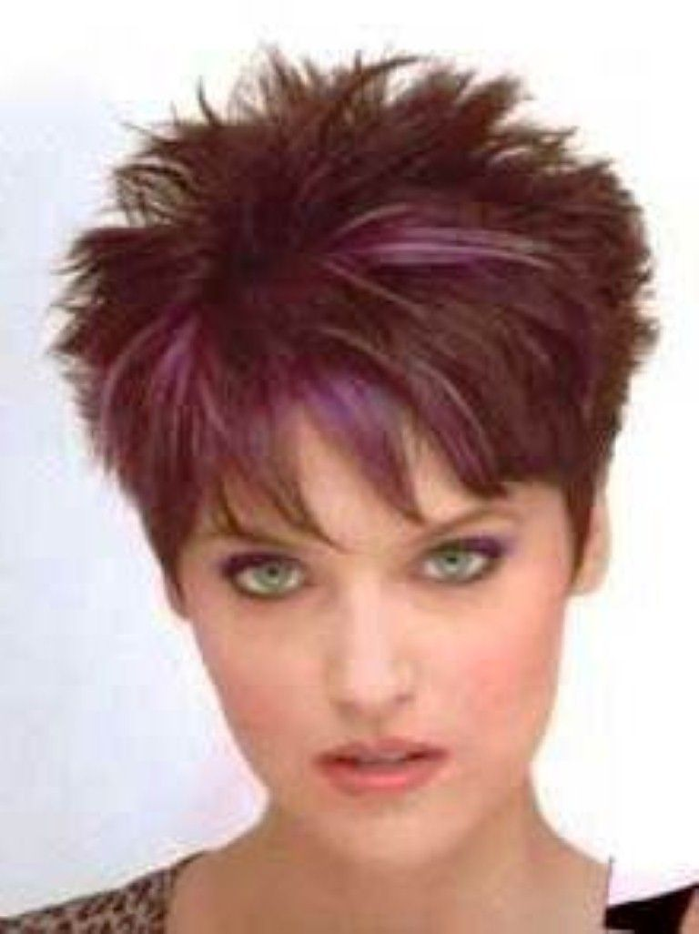 2 amazing elements in short spiky hairstyles for women: purple