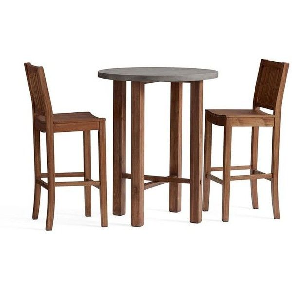 Pottery Barn Abbott Bar Height Table + 2 Abbott Barstools ($1,135) ❤ Liked  On
