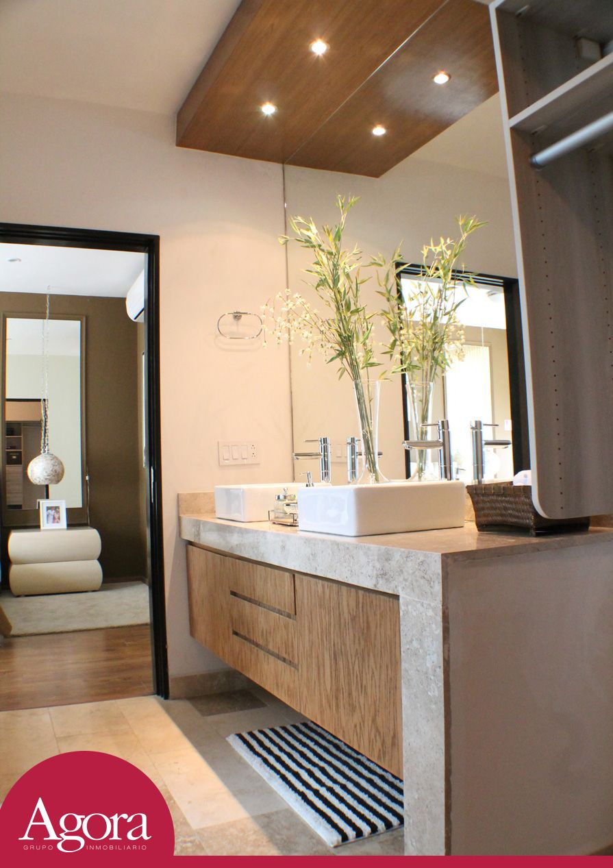 Lavabo doble para recamara principal con espejo grande y cajoneras de madera grupo agora - Espejos para lavabos ...