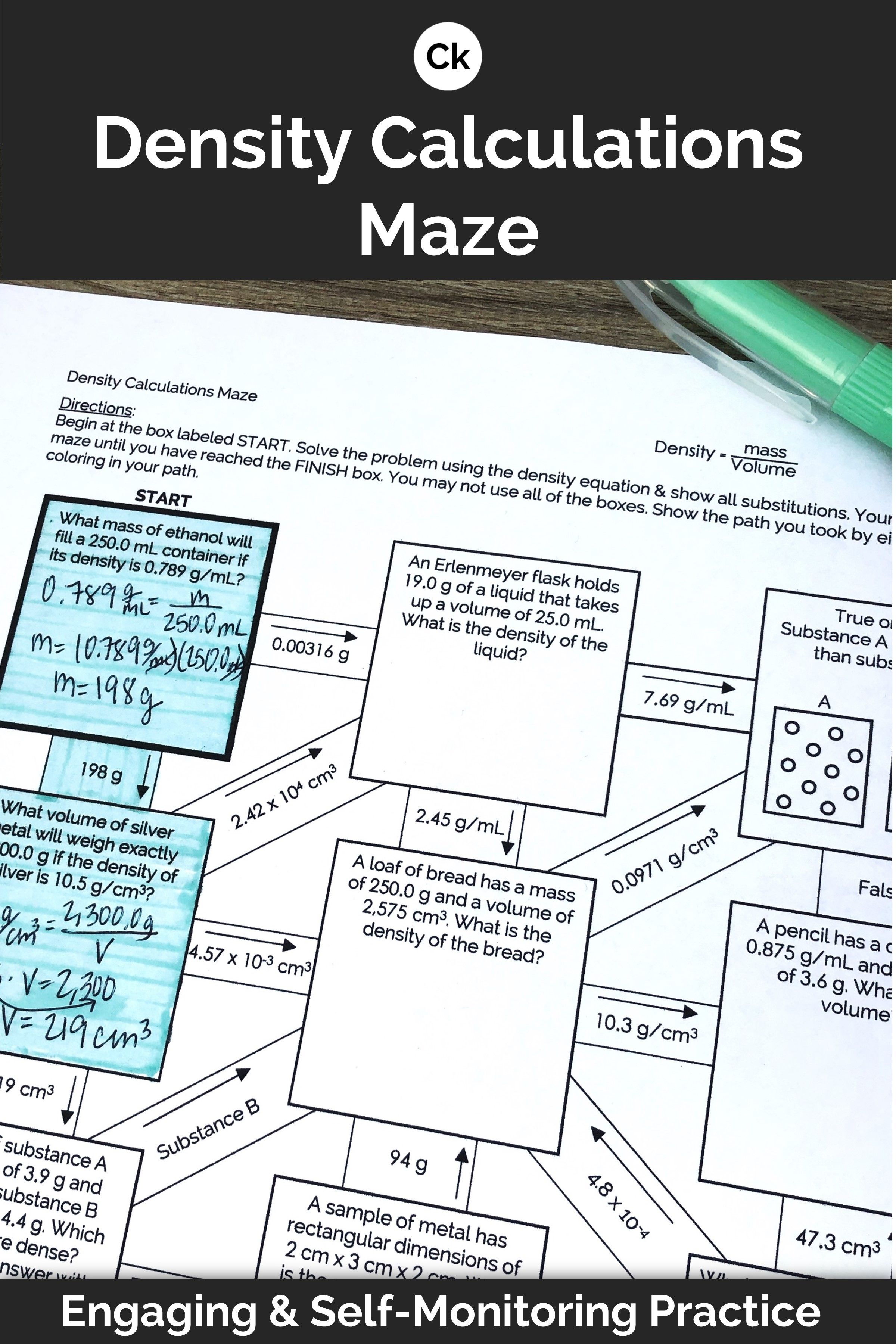 Density Mazes Calculations And Conceptual Visual Worksheet