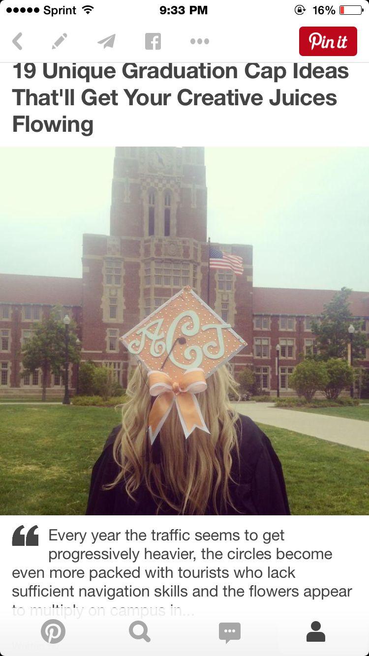 Monogram and bow graduation cap