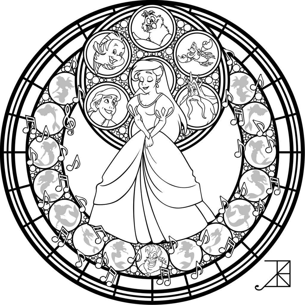 Stained glass ariel remastered line art by akiliamethyst