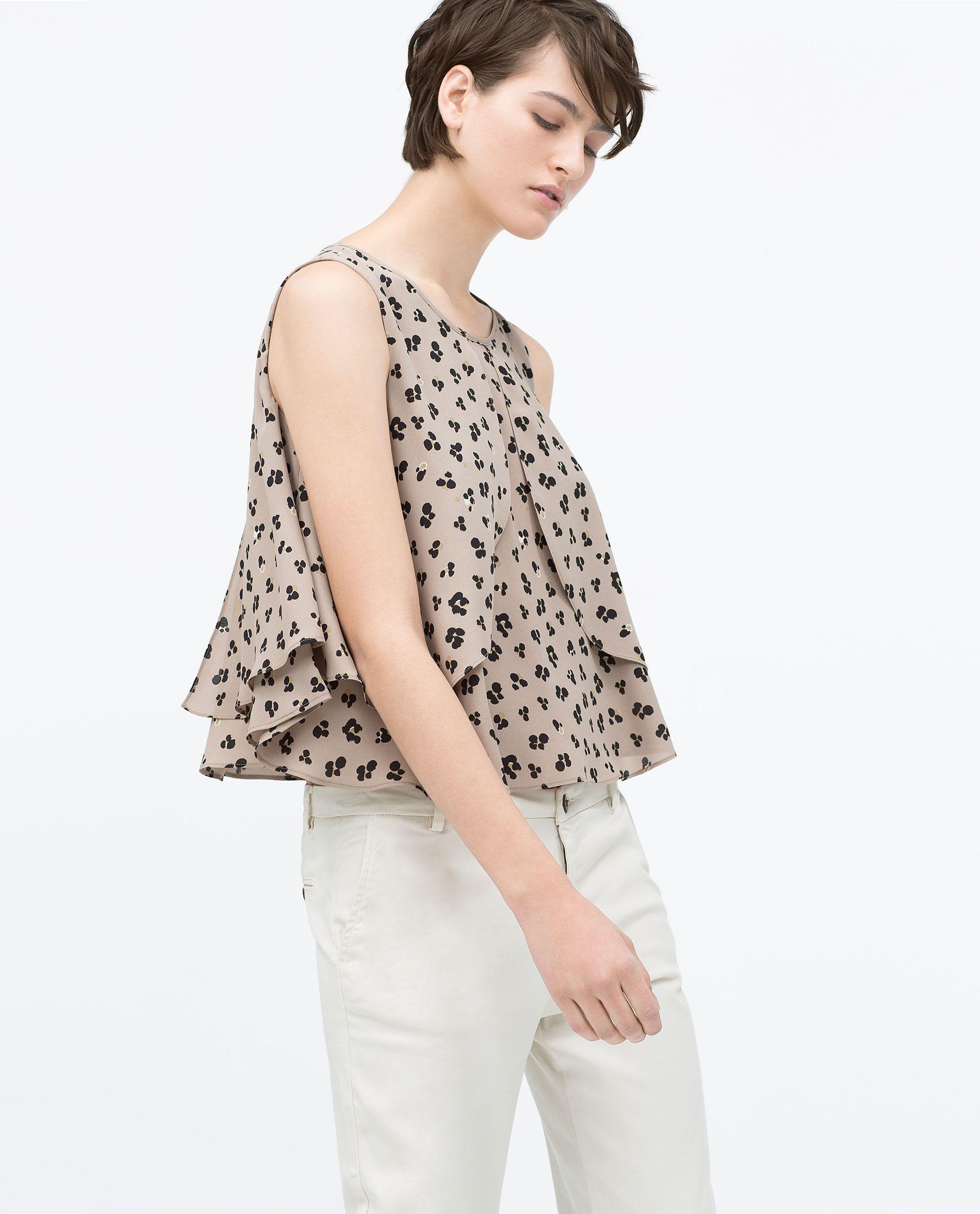 Zara Mulher Top Estampado Com Capas De Decote Em Caixa Ao Kiểu