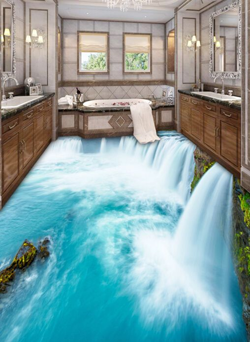 Best 3D Huge Waterfall 2 Floor Wallpaper Murals Wall Print 400 x 300