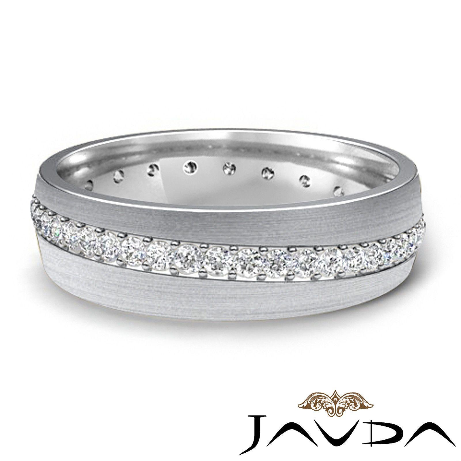 Dome Wedding Band 18k White Gold Round Pave Set Diamond