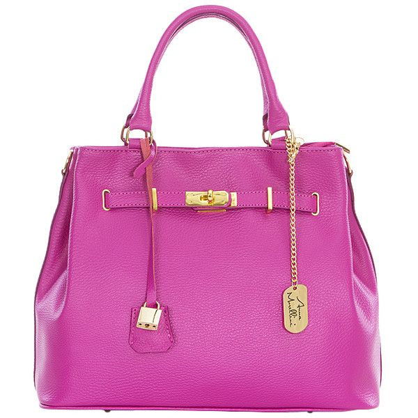 43620362a93d Anna Morellini Fuchsia Lock-Accent Leather Satchel (€89) ❤ liked on ...