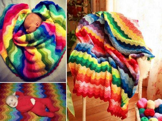 Rainbow Ripple Crochet Blanket | Manta, Camas y Comprar