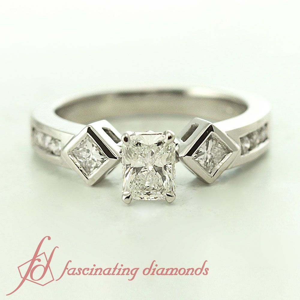 Box grid ring radiant cut diamond radiant cut and white gold