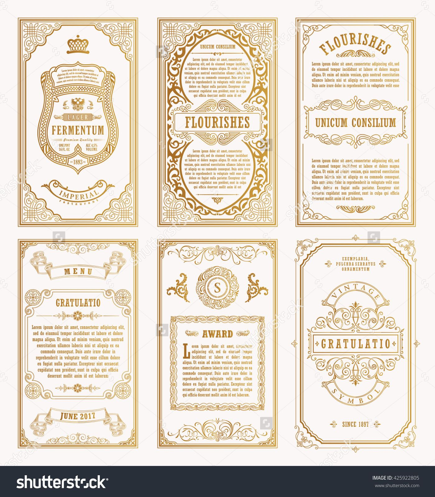 Vintage golden vector set retro cards template greeting card vintage gold vector set retro cards template greeting card wedding invitation line calligraphic frames floral royal engraving design labels advertising stopboris Image collections