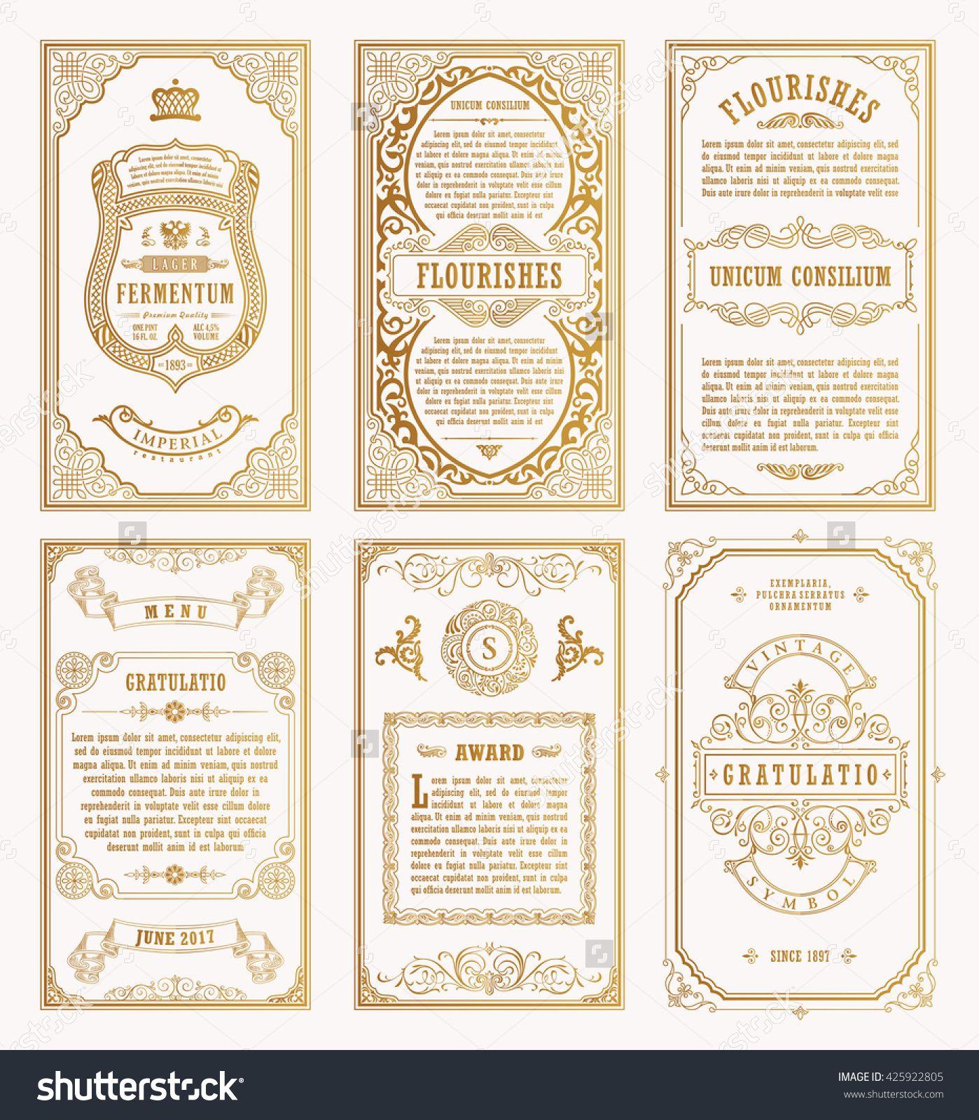 Vintage golden vector set retro cards template greeting card vintage golden vector set retro cards template greeting card wedding invitation line calligraphic frames stopboris Images