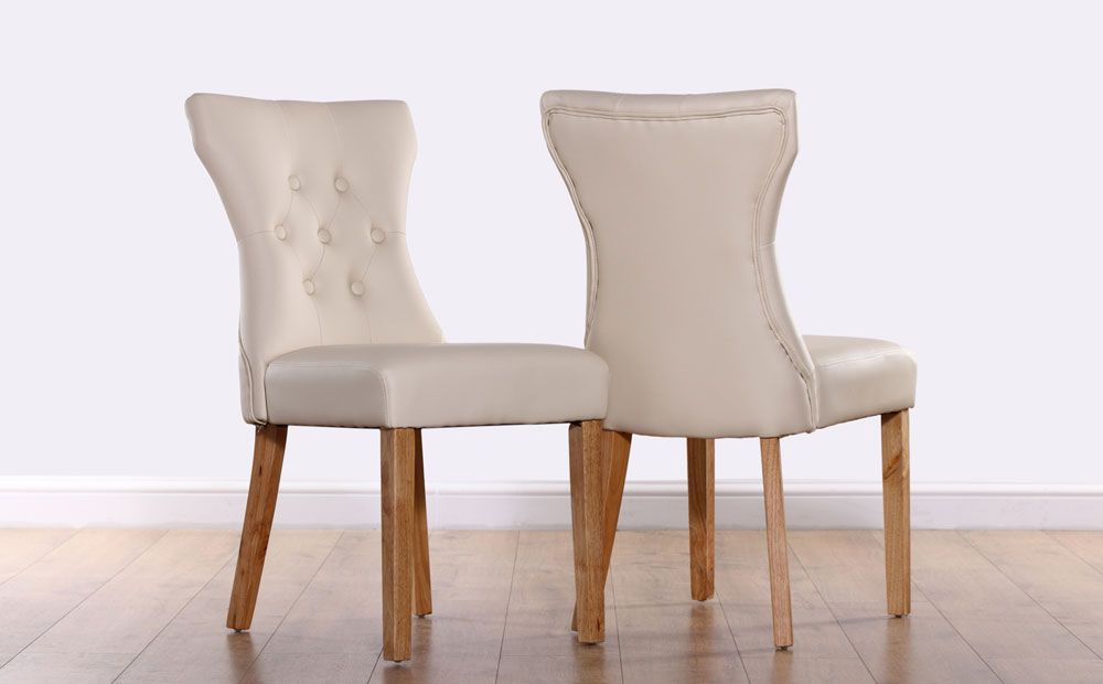 Bewley Ivory Leather Button Back Dining Chair Oak Leg Leather