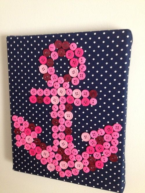 I covered a thick canvas with fabric and glued the buttons on with hot glue. You could sew them, but it would take much longer. I've also seen this hung with a ribbon, and I've seen them where each letter is on a different canvas and they're hung together.