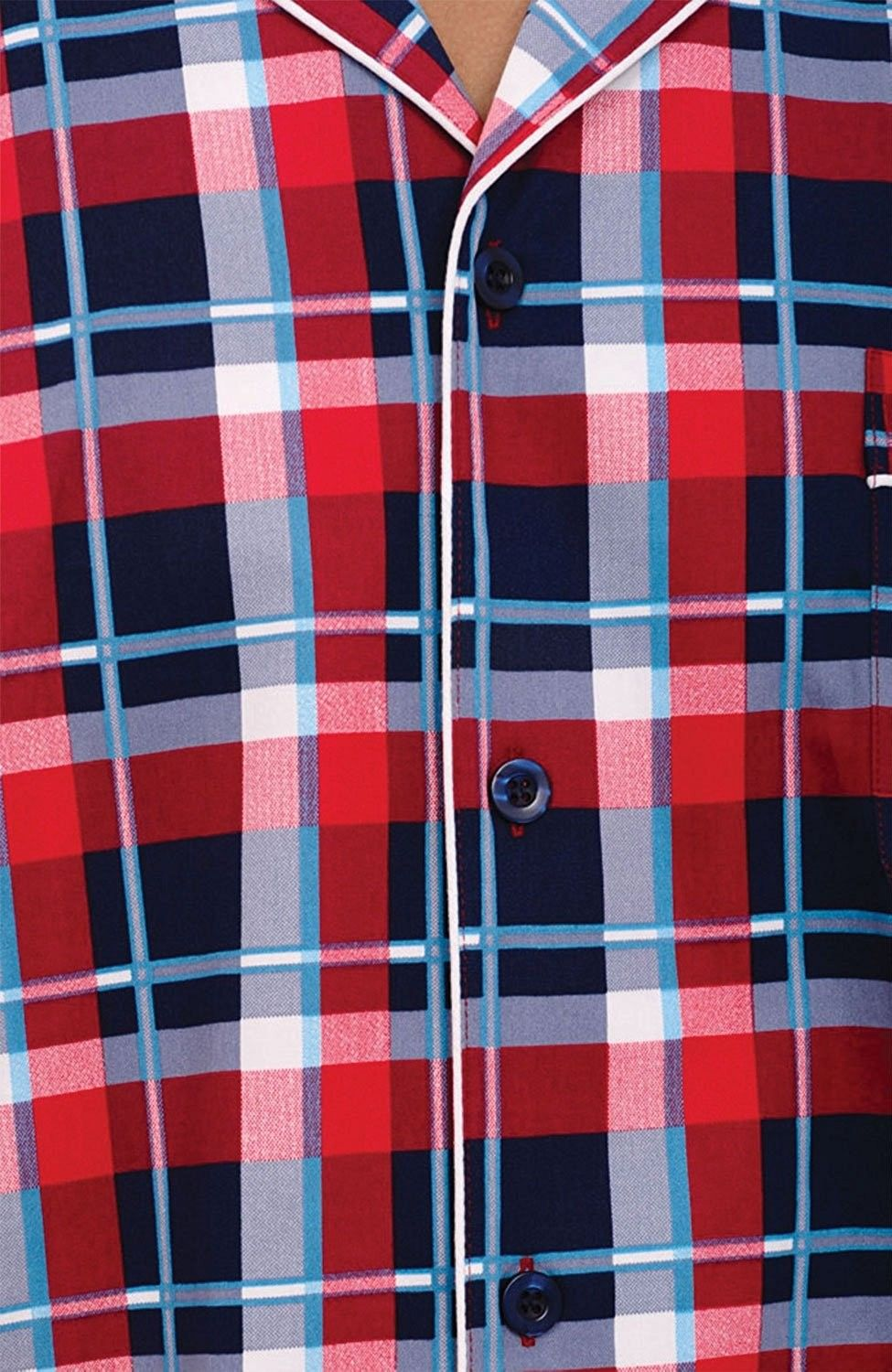 09f4db4475 Mens Cotton Pajamas- Short Button-Down Woven PJ Set - Red Plaid With ...