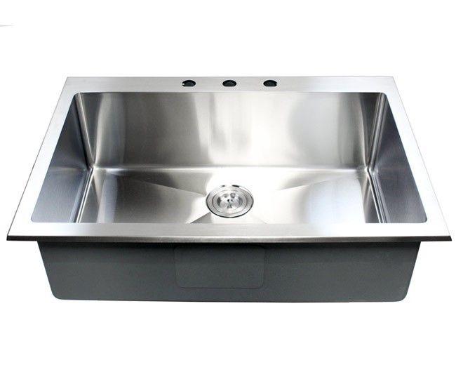33 Inch Top Mount Drop In Stainless Steel Single Bowl Kitchen Sink 1 Single Bowl Kitchen Sink Top Mount Kitchen Sink Apron Front Stainless Steel Kitchen Sink