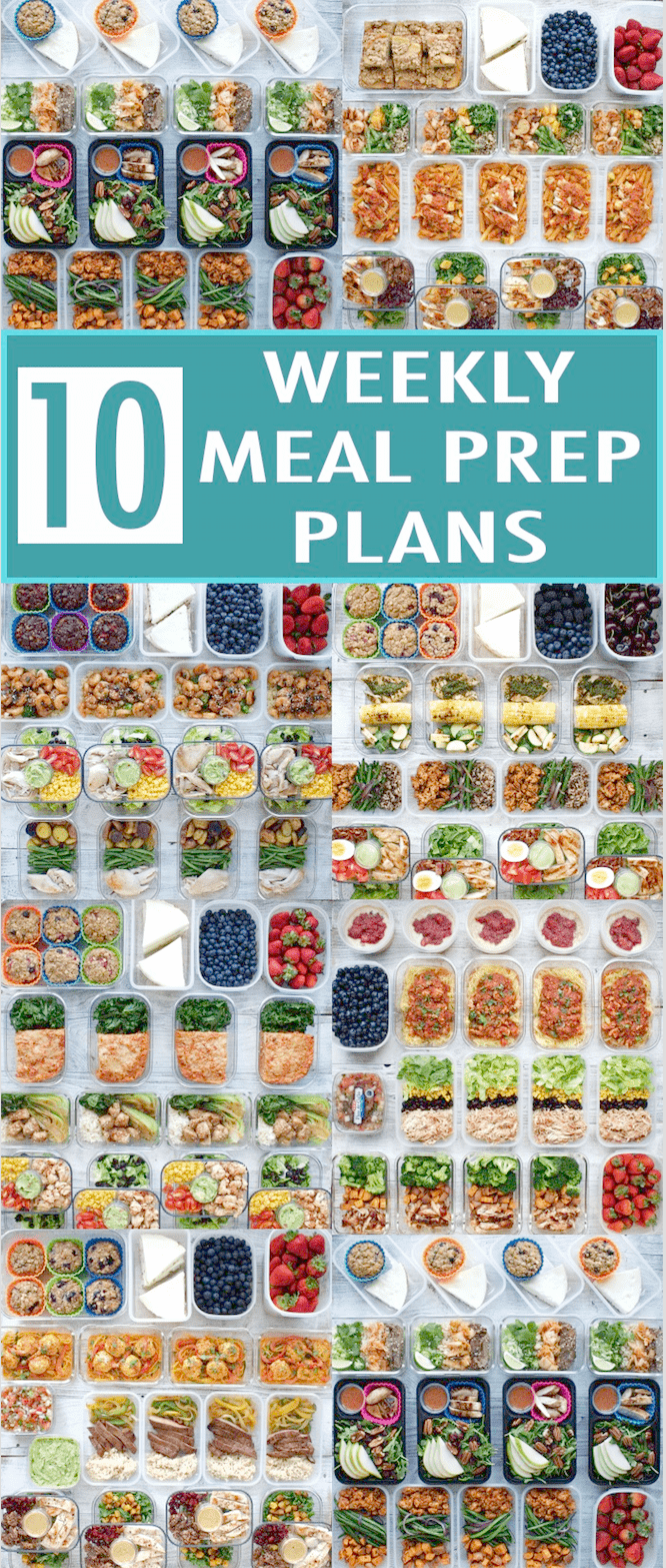 Healthy New Year: 2018 Meal Prep Round-Up - get 10 weekly meal prep plans with recipes, nutrition in...