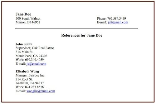 include references on a resume