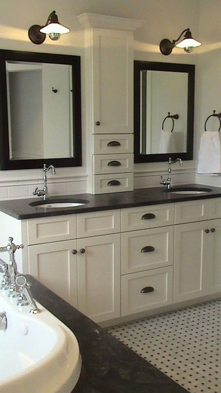 24 Gorgeous Light Cabinets Dark Countertops Bathroom Remodel