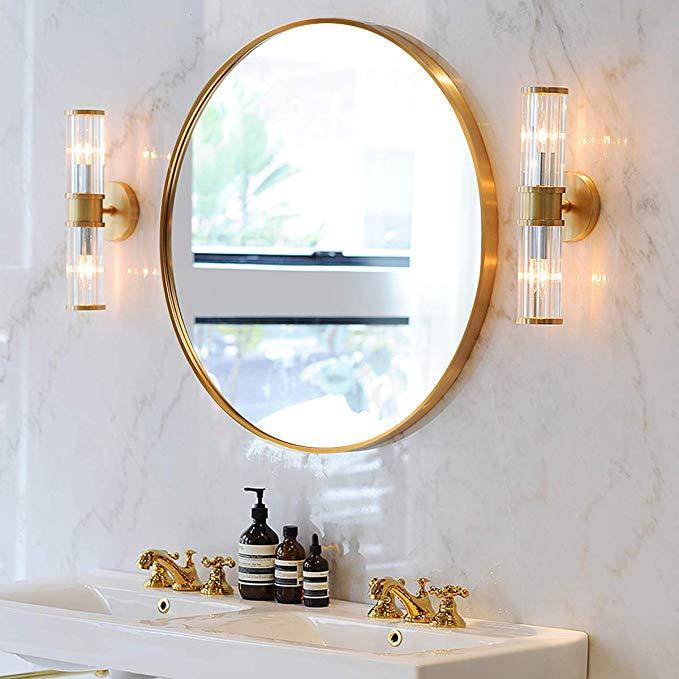 Amazon Com Shigaken 15 7 Small Round Mirror Circle Wall Mirror Brushed Metal Frame Wall Moun With Images Wall Mounted Mirror Small Round Mirrors Round Mirror Bathroom