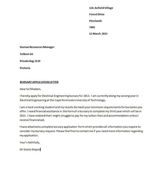 bursary application accountant letters letter write for how Home - sample resume cover letter for accounting job