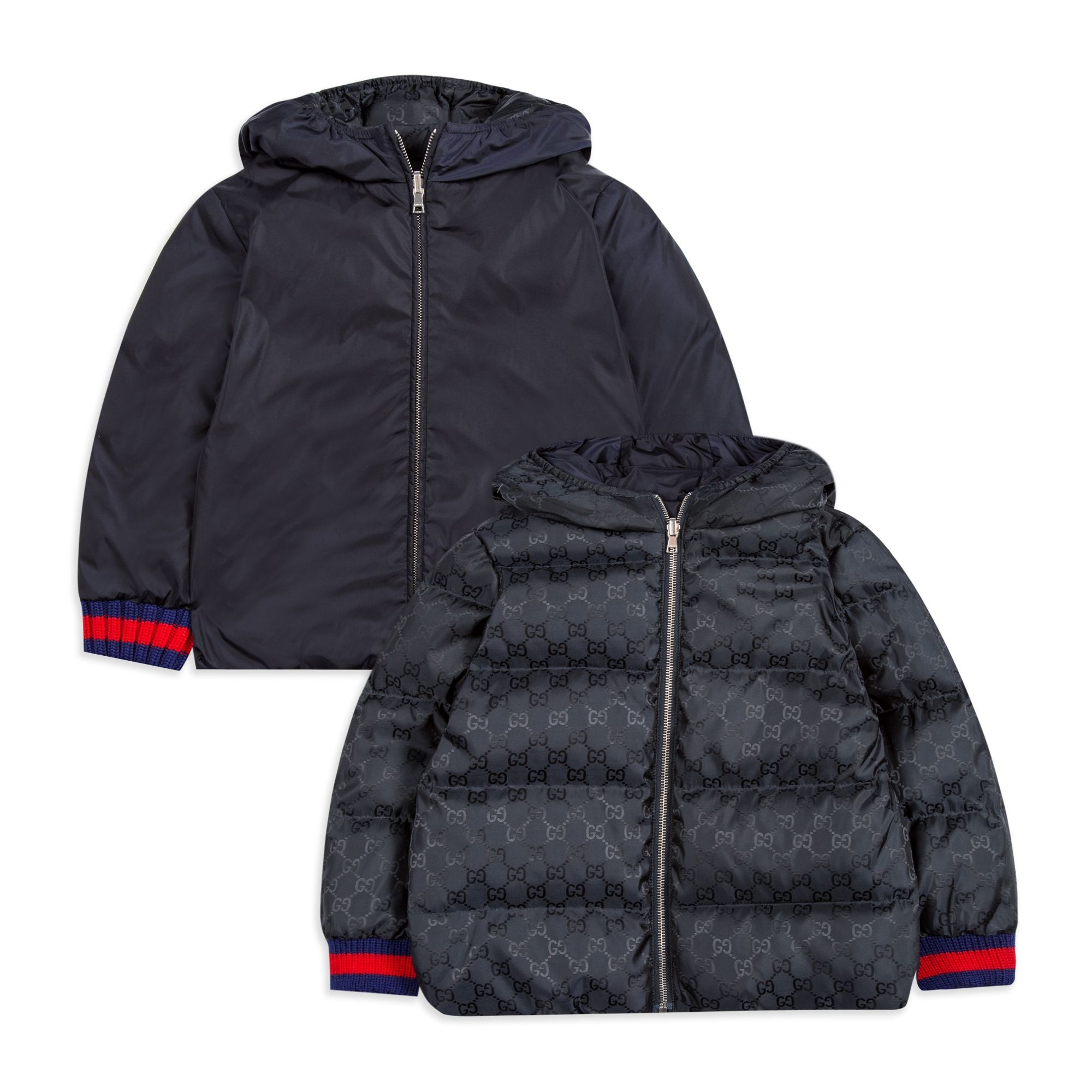 502e1801a7b GUCCI Baby Boys Reversible Down Jacket - Navy Baby hooded jacket • Soft  woven fabric •