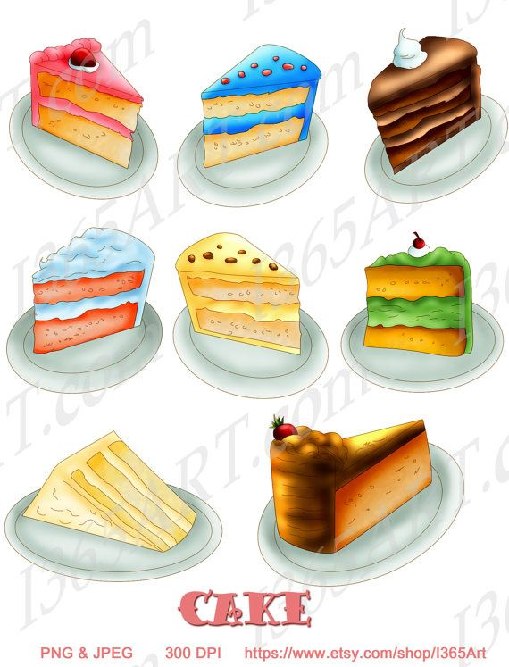 Cake Clipart, Cake Slices, Birthday cake clip art, Scrapbooking ...