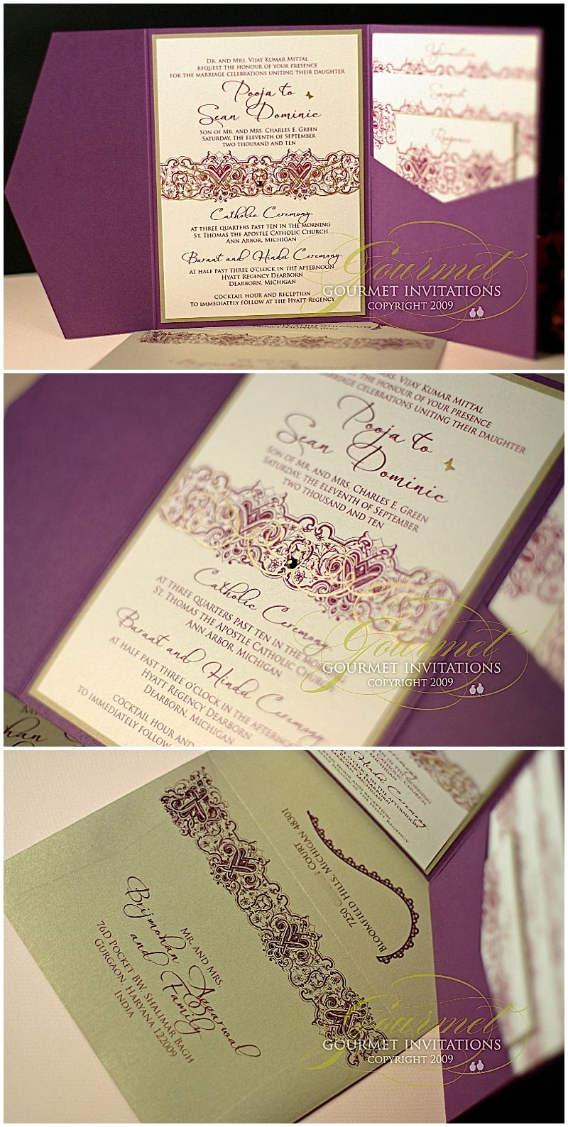 Pooja + Sean: Indian Inspired Purple and Gold Fusion Invitations - Gourmet  Invitations | Fusion wedding invitations, Invitation printing, Plum wedding  invitations
