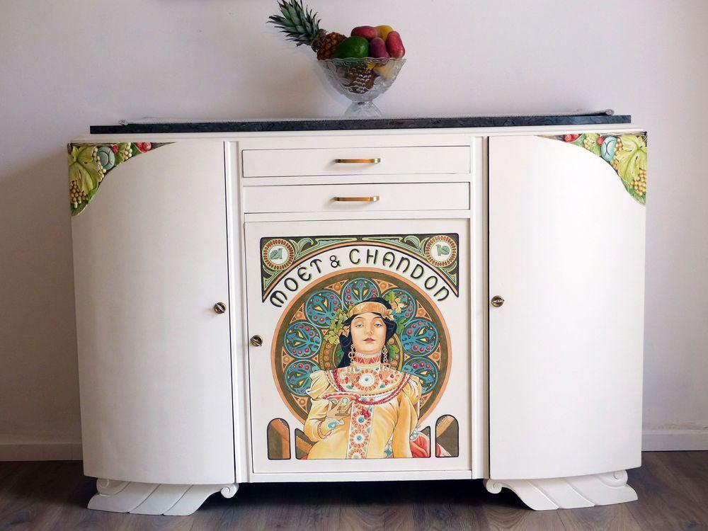 Buffet Art Deco Relooke Mucha Moet Chandon A 800 Meubles Art Deco Objet Deco Maison Relooking De Mobilier